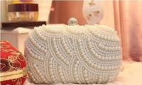 Wholesale Exquisite Pearls Bridal Evening Bags Wedding Banquet Dinner Hand Bags Shoulder Bags Wallets Handbags Clutches Bridal Purse White Beige Black