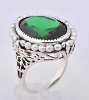 emerald ring - 925 silver shining pearl classicism emerald ring Bohemia Athens carving delicate silver rings