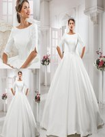 bamboo wedding dress - Simple Half Sleeves Wedding Dresses Ball Gown Scoop Zipper Floor Length With Sash Draped Plus Size Bridal Gowns Milla Nova New Arrival