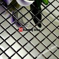 Wholesale Polished silver metal mosaic tile SMMT018 square stainless steel wall tiles backsplash silver mirror metallic mosaic tiles