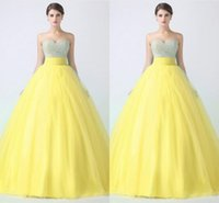 Lace ball gown silhouette - Vintage Prom Dressess Strapless Sweetheart Neckline Ball Gown Silhouette Sleeveless Zipper Back Long Mint Yellow Tulle Prom Gowns