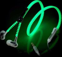 Wholesale Sport Glow in the Dark Visible Flowing Earphone Headphone Zipper Mental In Ear Stereo Headset with Mic For iPhone Xiaomi