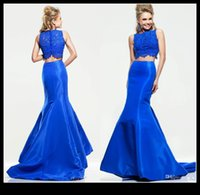 apple weddings - 2015 Royal Blue Mermaid Two Piece Evening Dresses Party Jewel Lace And Saitn Trumpet Sweep Train Women Prom Formal Gowns Dress For Weddings