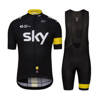Wholesale 2016 Tour De France Champion Cycling Jerseys Set Team Sky Road Bike Mountain Bicycle Clothes With D Gel Bib Padded Trousers Cycle Wear