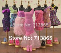 Wholesale items Clothes Shoes Hangers Mix Style Mix Color clothes evening dress For Barbie Doll Accessories