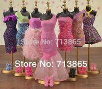 Wholesale items Clothes Shoes Hangers Mix Style Mix Color clothes evening dress For Barbie Doll Accessories