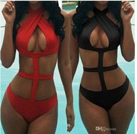 Wholesale 2015 new Sexy cut black red halter sexy one piece swimsuit monokini swimwear women bathing suit biquini maillot de bain