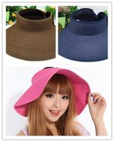Wholesale Spring new women s sun hat summer empty top large wide beach hats chapeau femme floppy hat for women