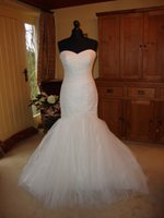 Cheap Real Photo Wave Details Wedding Dresses Tulle Mermaid Wedding Dress Sweetheart White Floor Length New Mermaid Wedding Gown Ruffle Cheap