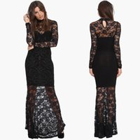 america prom - See through Long Sleeve Prom Dresses Fashion Lace Hook Flower Hollow Floor Length Trumpet Europe and America Elegant Slim Black Gowns