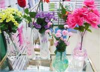 venda por atacado and plastic flower vases-Único reutilizáveis Flower Vasos Unbreakable Folding dobrável plástico PVC Vaso de flor casa decoração estilos misturados encomendar 27 centímetros * 12 centímetros