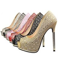 Wholesale High Heels Shoes for Womens Most Comfortable Dress Shoes with Rhinestone High Quality PU Leather Wedding Peep Toe Shoes S0008