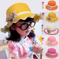 Cheap New Children Visor Cap cartoon glass little grils wavy edge straw hat summer sun hat knitting bowknot bucket cap