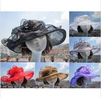 organza church hats - 2015 new arrival womens Organza Hat Kentucky Derby Wedding Church Party Floral Hat wide brim sun summer hats for women colors top quality