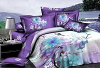Cheap Purple blue floral flower comforter bedding set sets queen size duvet cover bedspread sheets bed in a bag sheet bedclothes linen