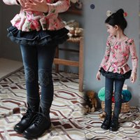 Wholesale Skinny Jeans Korean Style - 2015 Autumn New Arrival Children Jeans Korean Style Girls Lotus Leaf Tulle Trousers Fashion Kids Skinny Pants Fit 3-9 Age 100-140 SS140