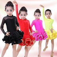 Wholesale 2016 New Perspective Rhinestone Long sleeved Latin Cha cha Tutu Skirts Veil Dress Children s Dancewear Performance Clothes Stage Costume