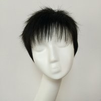 Wholesale Manufacturers natural and realistic real hair wig oblique fringe men middle aged wig Material crown Outlet
