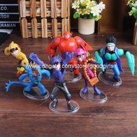 Wholesale Anime Cartoon Big Hero Toys Dolls Hiro Hamada Baymax PVC Action Figure Collectible Toys set DSFG190