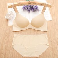 Wholesale NO Cup underwear wire free one piece gather bra no trace bra set push up adjustment type underwear set multi colors