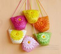 girls handbags - 2015 Children Girls Weave Flower Shoulder Bags Kids Floral Summer Holiday Vocation Seaside Knit Handbags Girl Flowers Bag Colors D4422