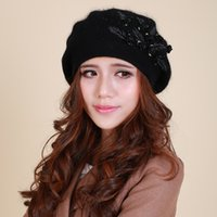 angora fur - Promotion New Hot Sale Autumn and Winter Womens Angora Hat Female Hats Rabbit Fur Soft Floral Berets for Women Gift B067