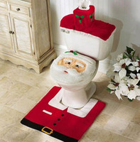 Wholesale Christmas Decorations Gifts Happy Santa Toilet Seat Cover and Rug Bathroom Set Contour Rug set