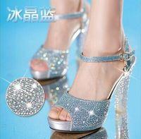 Wholesale New Fashion High Heels Ice Blue Rhinestone Wedding Shoes Peep Toe Shoes Sandal Bridal Shoes Bridesmaid Prom Shoes EA0317