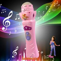 Wholesale 2014 New Arrival Wireless Girls Boys LED Microphone Mic Karaoke Singing Kids Funny Gift Music Toy Free shippng amp