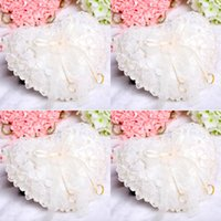 Wholesale 2015 New Fashion White Lace Pearls Bridal Rings Pillows Organza Satin Lace Bearer With Flower Crystals Ribbon Heart Shaped Ring Pillows