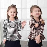 Wholesale Baby Girls Dresses Princess Dresses Party Dresses Kids Color Corsage Necklace Houndstooth Dresses Children Long Sleeved Dresses FS GD502