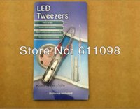 Wholesale led light tweezer light tweezer eyebow tweezer retail package FEDEX DHL
