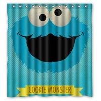 bath cookies - Bathroom Polyester Fabric Bath Curtain Printed Cute Cartoon Cookie Monster Pictures Shower Curtain x72
