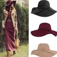 100% wool - Fashion Women Lady Wide Brim Wool Felt Bowler Fedora Hats Floppy Cloche