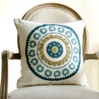 Wholesale 18 quot rustic style decorative throw pillows flower high quality embroidery cushions home decoration