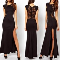 Jewel/Bateau ankle length dresses - 2015 Hot sale cheap black lace formal evening women casual dresses ankle length cap sleeves side slit prom party gowns work dresses BO5362