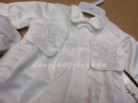 Wholesale New Kid Baby Boy Embroidery Baptisim Clothing Set With Hat Toddler Christening Clothes set set bit