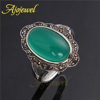 Cheap Size 7-9 Fashion Punk Rock Ring Jewelry Ancient Ways Green Black Stones Female Personality Finger Rings