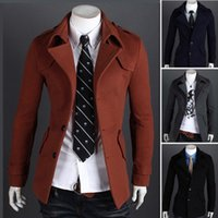 Wholesale 2015 new arrive Korea Fashion Men s Woolen Coats Large lapel Single breasted badges Slim men s Trench Coat men s outwear Brick red
