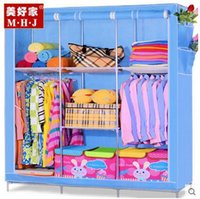 Wholesale new simple wardrobe cloth wardrobe frame structure reinforced double wardrobe cloth wardrobe simple