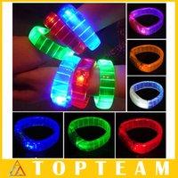 Wholesale For Christmas Party Voice Control Sound Activated Sensor LED Flashing Flash Glowing Bracelets Bangle Wrist Strap LED Bracelet