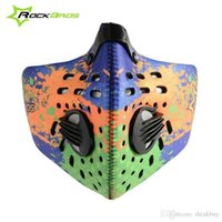 Wholesale ROCKBROS MTB Mountain Bike Cycling Anti dust Breathable Half Face Mask With Filter Neoprene Activated Carbon Haze Styles New