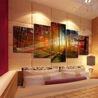 canvas prints wall painting - 5 Panel Forest Painting Canvas Wall Art Picture Home Decoration Living Room Canvas Prints Modern Landscape Painting Canvas Art