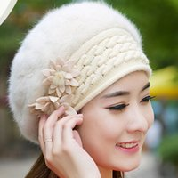 al hair - Fall Winter Women Soft cony hair crochet Beret Rabbit Fur with Flowers Lady Elegant Beanie Elastic Knitted Warm Hats AL M44