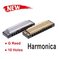 Wholesale Swan Diatonic Holes Blues Key of G Reed Harmonica Musical Instrument with Case Golden Made of Stainless Steel Mini Harmonica order lt no