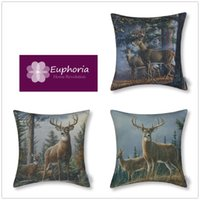 100% Polyester No Filler or Insert, Just Cushion Cover Square Euphoria Home Sofa Bedding Set Decor Cushion Cover Pillow Case Shell High Quality Really Deer Print 18''*18'' 45cm*45cm