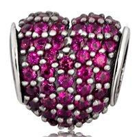 achat en gros de zircon bracelet de charme coeur-Charm Cœur cristal rouge en gros qualité Hight 925 Charms Sterling Silver Bead européennes Zircon Fit Bracelets Serpent bricolage chaîne de bijoux
