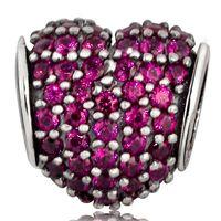 al por mayor circón encanto del corazón-Comercio al por mayor de calidad de Hight Red Crystal Heart Charm 925 encantos de plata de ley europeos circón apta del grano de las pulseras de la serpiente de la joyería DIY Cadena