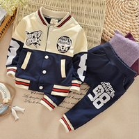 baseball trousers - Children Sport Sets Autumn Fashion Kids Clothing Suit Long Sleeve Coat Trousers piece Set Baby Baseball Clothes T1335