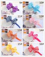 ribbon flowers - New Baby inch Flower Headbands Hair Band Dot Grosgrain Ribbon Bows Hair Hoop Kids Hair Accessories Hair Bows Girls Stripe Bowknot Headwear